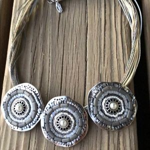 Amitra Singh RARE Silver Swirl Beaded Necklace!